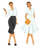 Woman in formal clothes and woman in elegant white dress. Stock Image