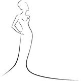 Woman in formal dress. Black and white hand-drawn sketch of a women in a formal dress Stock Photo