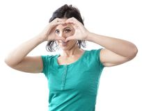 Woman forming heart shape Stock Image