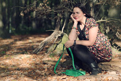 Woman in forrest Stock Photo