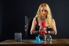 Woman fortune teller with crystal ball portrait Stock Image