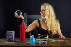 Woman fortune teller with crystal ball portrait Royalty Free Stock Images