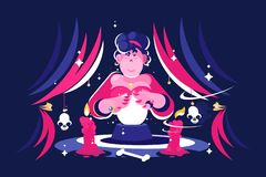 Woman fortune teller with magical crystal ball. Woman fortune teller with magical crystal ball reading future in dark room. Flat. Vector illustration stock illustration