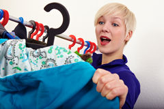Woman founds her clothes Royalty Free Stock Photos