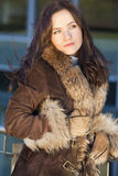 Woman in fox coat Stock Photography