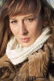Woman in fox coat and scarf Royalty Free Stock Photography
