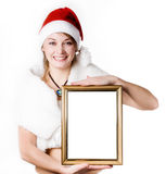 Woman with frame Royalty Free Stock Image
