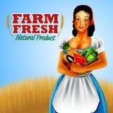 Woman Frame farm vegetables Royalty Free Stock Photo