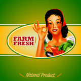 Woman Frame farm vegetables natural product green Royalty Free Stock Photos