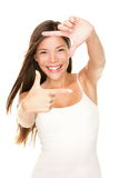 Woman frame finger sign Stock Photos