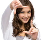 Woman frame gesturing Stock Image