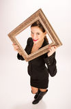 Woman Framed Ornate Frame over Face Royalty Free Stock Image