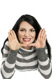 Happy woman framing face Stock Image