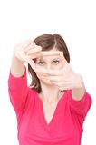 Woman with framing hands Royalty Free Stock Photography