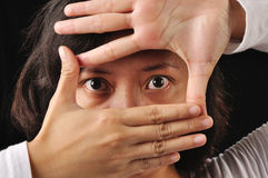 Framing Eyes Of Woman Stock Image