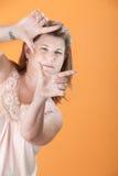 Woman Framing Her Face Stock Photos