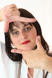 Woman  Framing Her Hands Stock Images