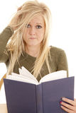 Woman frazzled with book Royalty Free Stock Photography