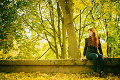 Woman with freckles and red long hair in fall park Royalty Free Stock Images