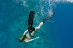 Woman free diving on a coral reef Stock Photos