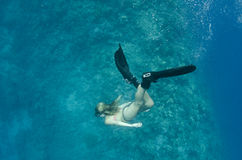 Woman free diving down on a coral reef Royalty Free Stock Images
