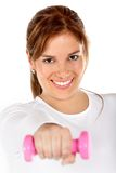 Woman with free-weights Stock Image