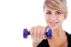 Woman with free-weights Royalty Free Stock Photography