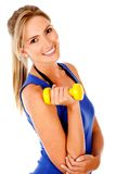Woman with free-weights Stock Images