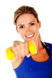 Woman with free-weights Royalty Free Stock Images
