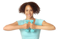 Woman with free weights Royalty Free Stock Photo