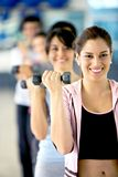 Woman with free weights Stock Images
