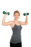 Woman with free weights and  motion blur Royalty Free Stock Photo