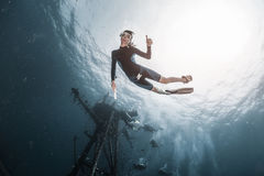 Woman freediver Royalty Free Stock Images