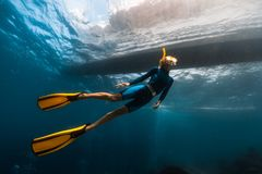 Woman freediver stock images