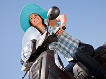 Woman freedom moped Royalty Free Stock Images