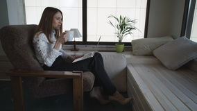 Woman Freelancer   Has Video Call On Laptop With Client stock footage