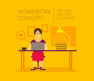 Woman freelancer, home of the laptop. homework Stock Images
