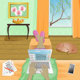 Woman Freelancer work at home on laptop. Vector Illustration Royalty Free Stock Photo