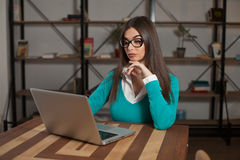 Woman-freelancer is working Royalty Free Stock Image