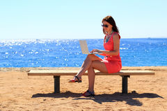 Woman freelancer Royalty Free Stock Photography
