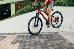 Woman freerider riding down ramps Stock Photography