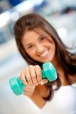 Woman with freeweights Royalty Free Stock Photo