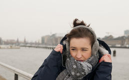 Woman freezing Stock Photos