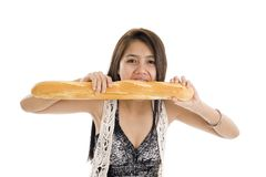 Woman with french bread Royalty Free Stock Images