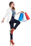 Woman with French flag colours shopping bags on white background Stock Photos