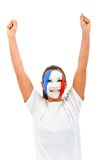 Woman with the French flag on her face Stock Image