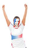 Woman with the French flag on her face Stock Images