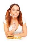 Woman with french fries Royalty Free Stock Images