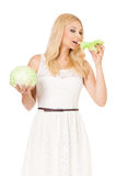 Woman with fresh cabbage Stock Photo