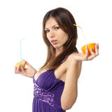 Woman with fresh citrus juice Royalty Free Stock Images